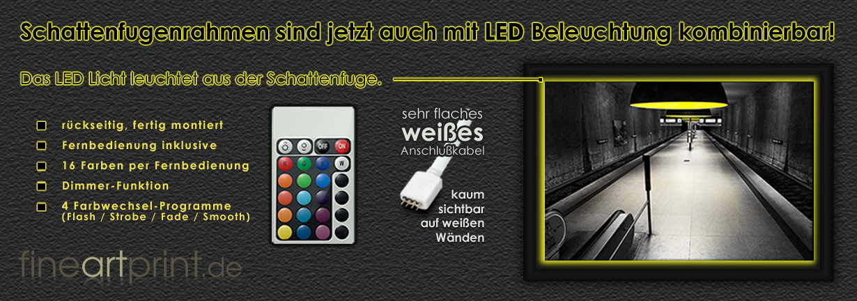 Kombinationsmöglichkeit Schattenfugenrahmen mit LED Beleuchtung